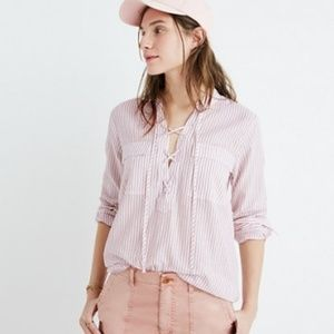 Madewell Terrace Lace- Up Vera Stripe Popover